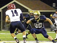 DL Sam Dokus during a disciplined team effort on the defensive side of the ball, containing Winters--a proven rushing threat in addition to his pass skills