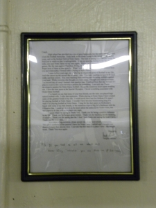 Larkin's letter--written in 2003, still hanging in the facility this day