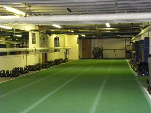 indoor turf, located opposite of the facility's weight room