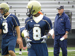 TCNJ offensive line coach Paul Vichroski during one of the team's Week Four practice sessions
