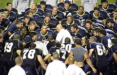 Players await eagerly to erupt during Bones' post-game ritual, here seen following TCNJ's Week 3 win over FDU-Florham